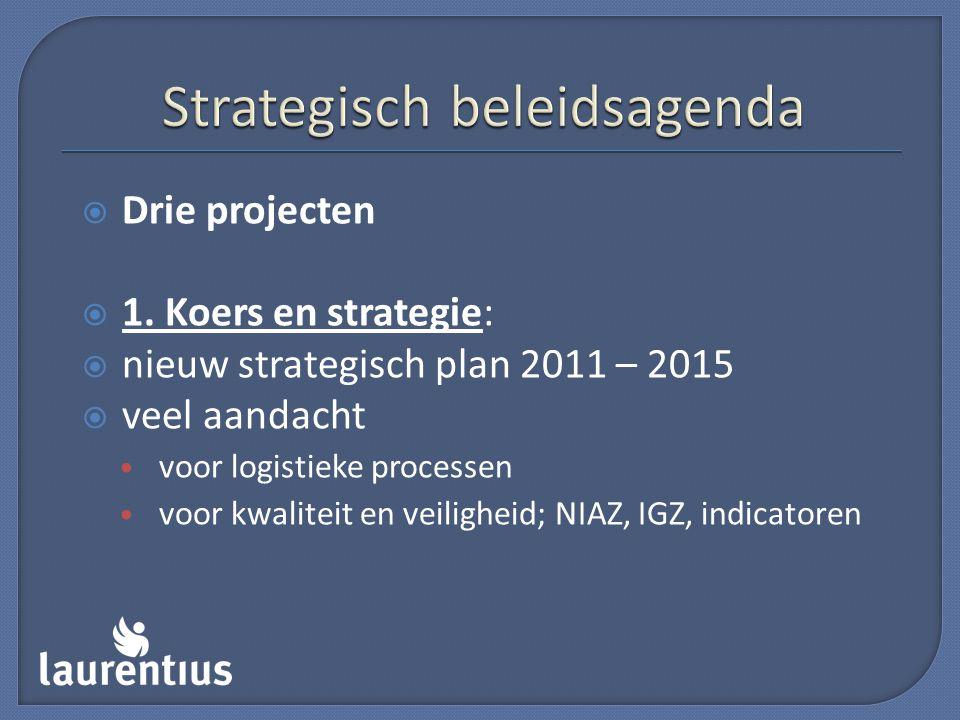  Drie projecten  1. Koers en strategie:  nieuw strategisch plan 2011 – 2015  veel aandacht voor logistieke processen voor kwaliteit en veiligheid;