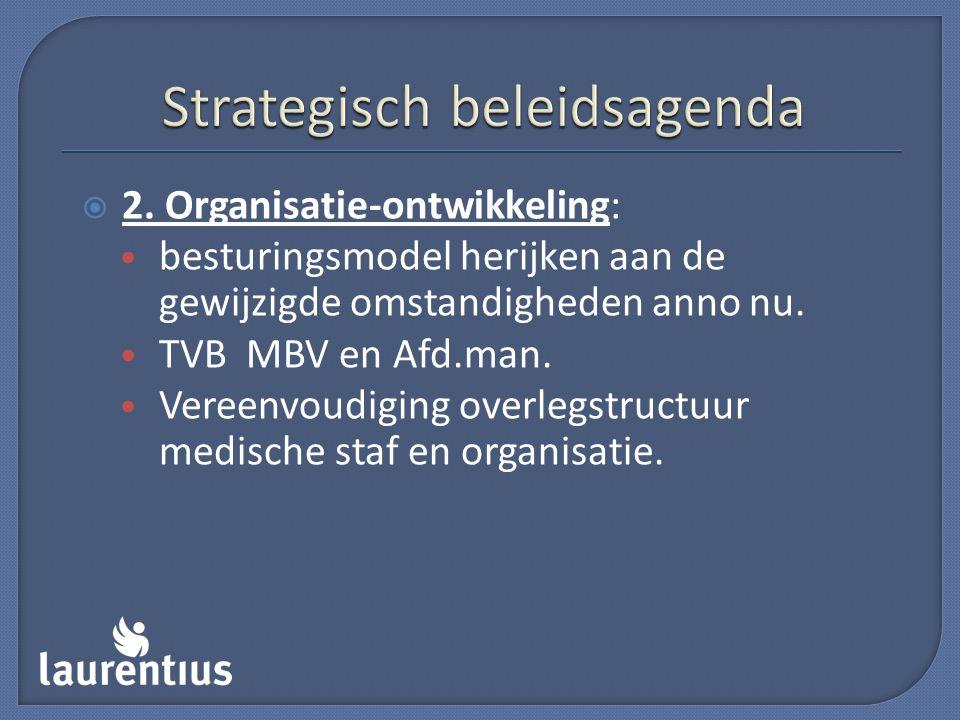  2. Organisatie-ontwikkeling: besturingsmodel herijken aan de gewijzigde omstandigheden anno nu. TVB MBV en Afd.man. Vereenvoudiging overlegstructuur