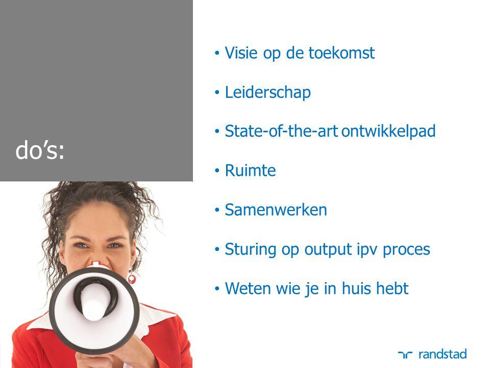 do's: Visie op de toekomst Leiderschap State-of-the-art ontwikkelpad Ruimte Samenwerken Sturing op output ipv proces Weten wie je in huis hebt