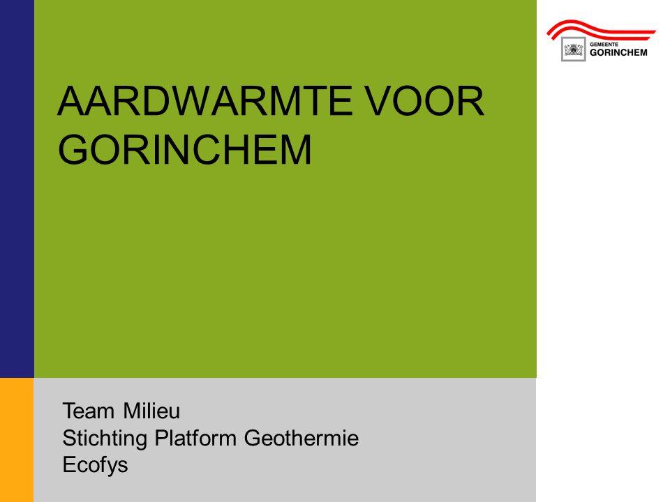 AARDWARMTE VOOR GORINCHEM Team Milieu Stichting Platform Geothermie Ecofys