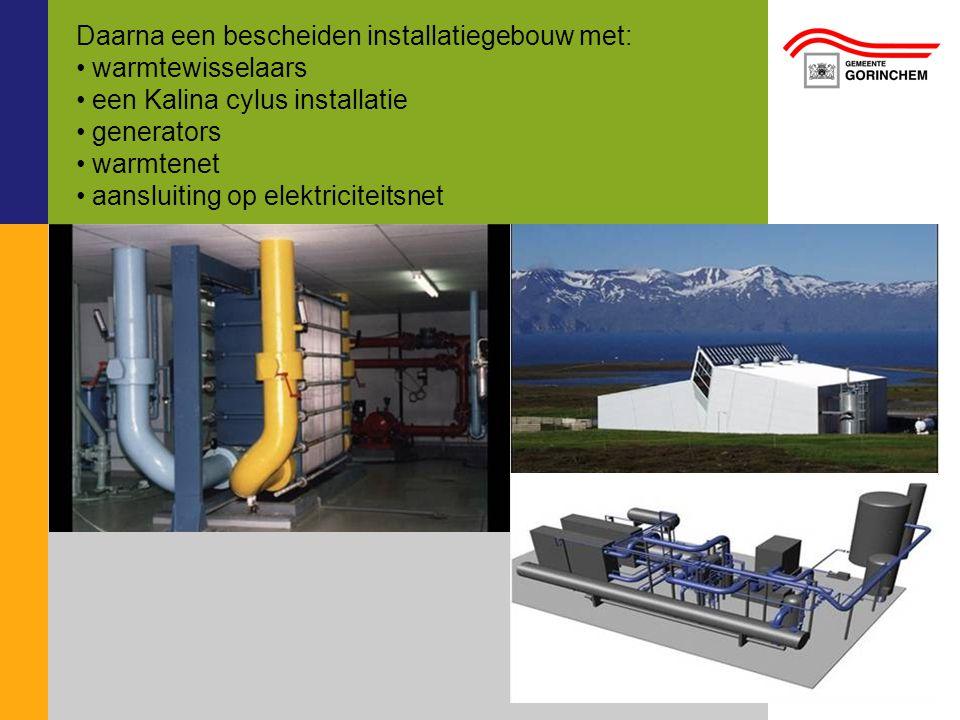 Daarna een bescheiden installatiegebouw met: warmtewisselaars een Kalina cylus installatie generators warmtenet aansluiting op elektriciteitsnet