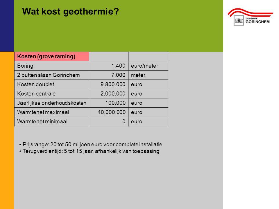 Wat kost geothermie? Kosten (grove raming) Boring1.400euro/meter 2 putten slaan Gorinchem7.000meter Kosten doublet9.800.000euro Kosten centrale2.000.0