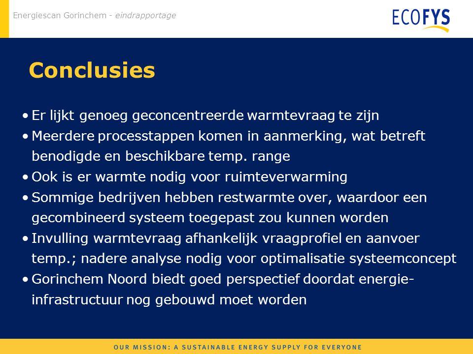 Energiescan Gorinchem - eindrapportage Conclusies Er lijkt genoeg geconcentreerde warmtevraag te zijn Meerdere processtappen komen in aanmerking, wat