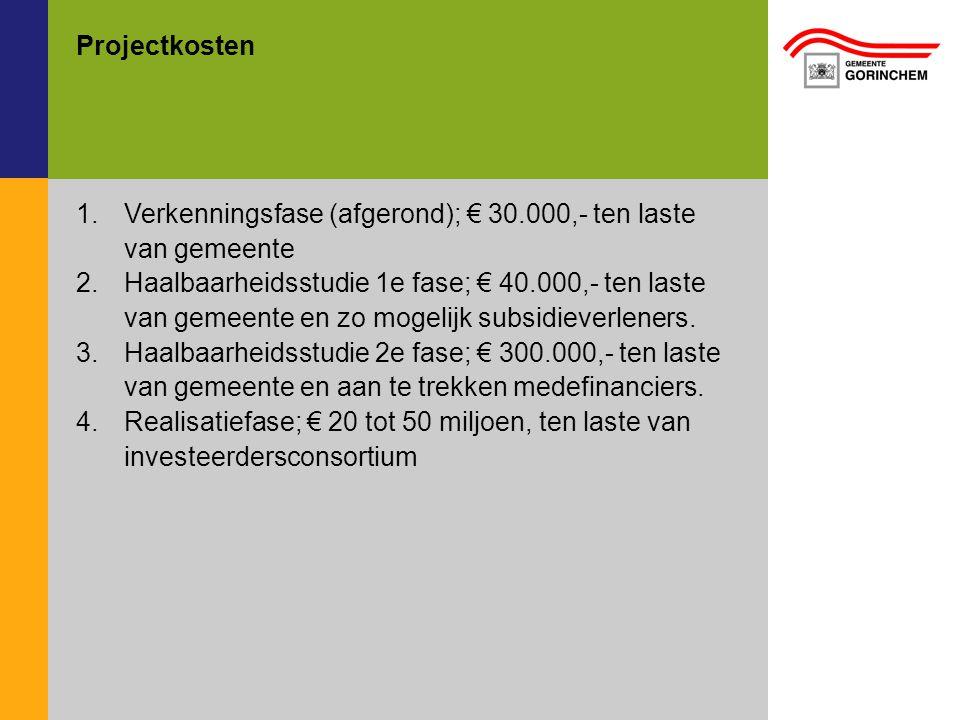 Projectkosten 1.Verkenningsfase (afgerond); € 30.000,- ten laste van gemeente 2.Haalbaarheidsstudie 1e fase; € 40.000,- ten laste van gemeente en zo m