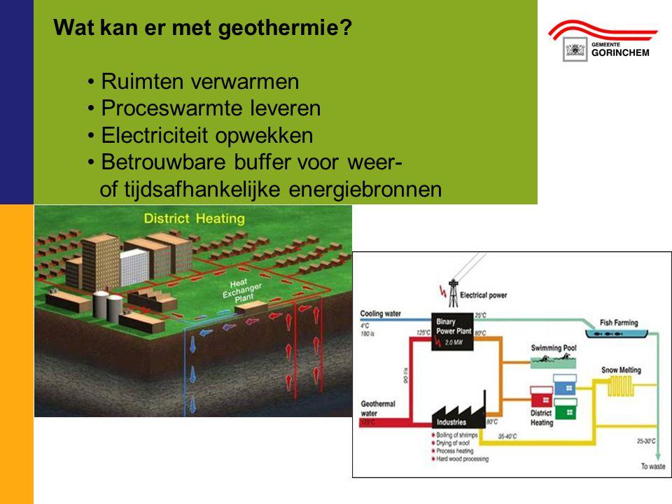 Wat kan er met geothermie? Ruimten verwarmen Proceswarmte leveren Electriciteit opwekken Betrouwbare buffer voor weer- of tijdsafhankelijke energiebro