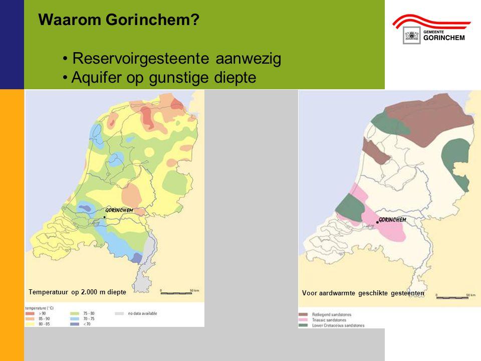 Waarom Gorinchem? Reservoirgesteente aanwezig Aquifer op gunstige diepte Temperatuur op 2.000 m diepte Voor aardwarmte geschikte gesteenten
