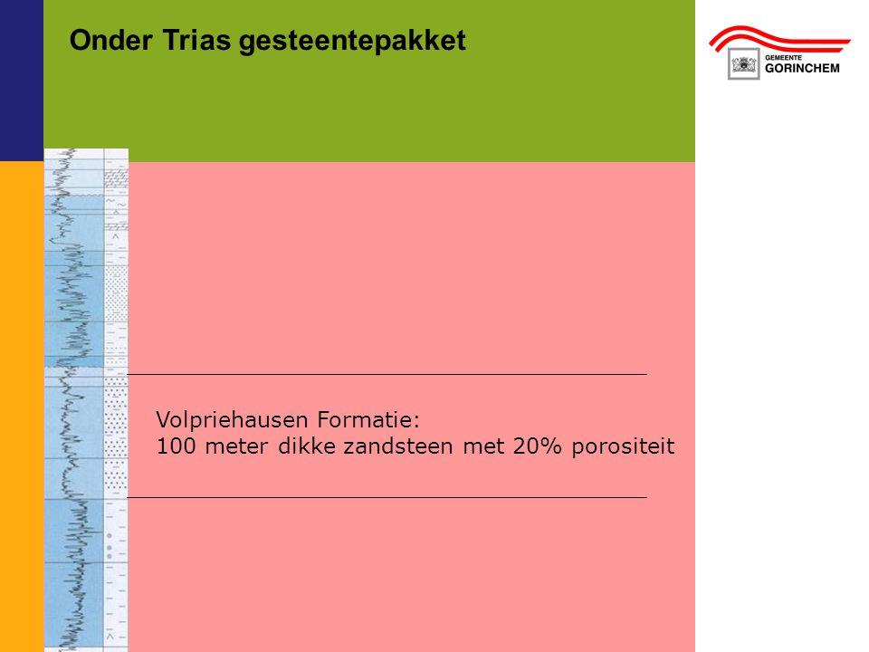 Onder Trias gesteentepakket Volpriehausen Formatie: 100 meter dikke zandsteen met 20% porositeit