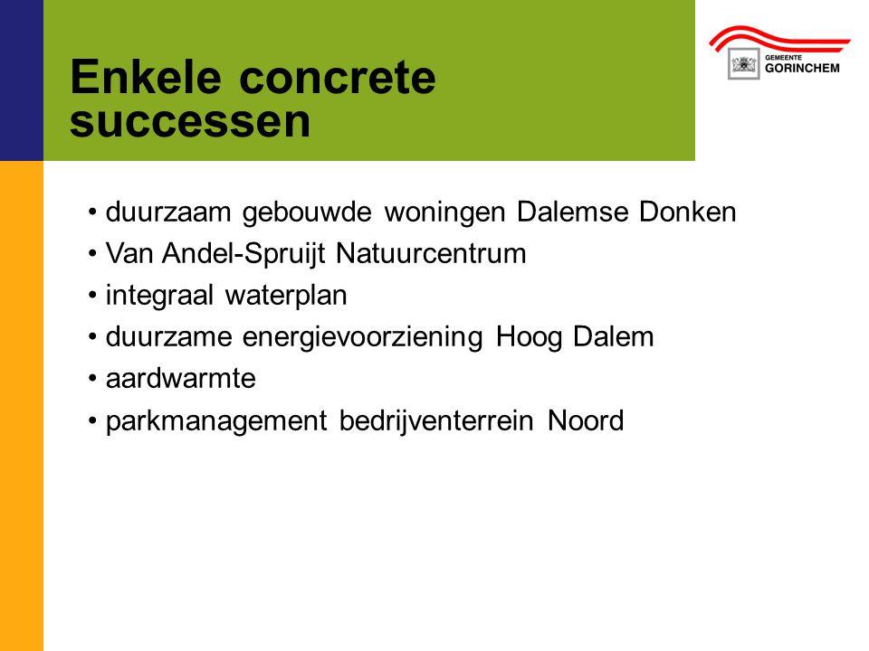 Enkele concrete successen duurzaam gebouwde woningen Dalemse Donken Van Andel-Spruijt Natuurcentrum integraal waterplan duurzame energievoorziening Hoog Dalem aardwarmte parkmanagement bedrijventerrein Noord