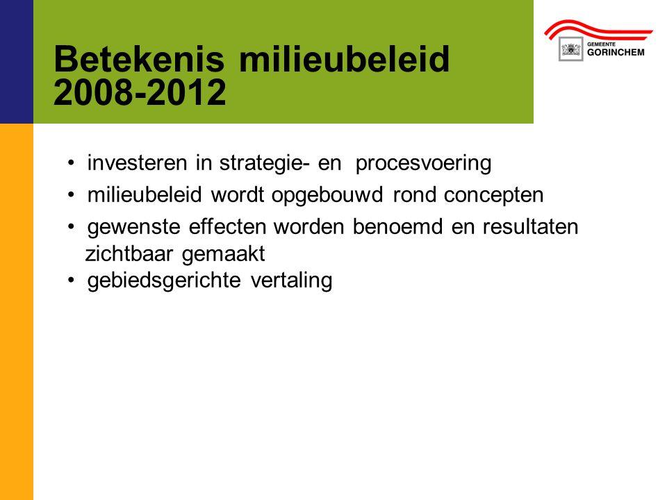 Betekenis milieubeleid 2008-2012 investeren in strategie- en procesvoering milieubeleid wordt opgebouwd rond concepten gewenste effecten worden benoemd en resultaten zichtbaar gemaakt gebiedsgerichte vertaling