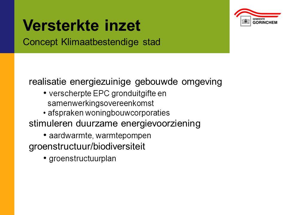 Versterkte inzet Concept Klimaatbestendige stad realisatie energiezuinige gebouwde omgeving verscherpte EPC gronduitgifte en samenwerkingsovereenkomst afspraken woningbouwcorporaties stimuleren duurzame energievoorziening aardwarmte, warmtepompen groenstructuur/biodiversiteit groenstructuurplan