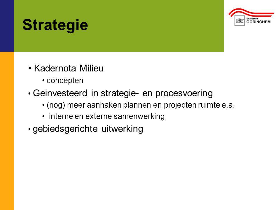 Strategie Kadernota Milieu concepten Geinvesteerd in strategie- en procesvoering (nog) meer aanhaken plannen en projecten ruimte e.a.