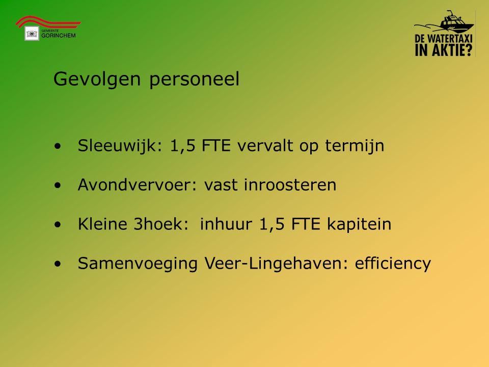 Gevolgen personeel Sleeuwijk: 1,5 FTE vervalt op termijn Avondvervoer: vast inroosteren Kleine 3hoek:inhuur 1,5 FTE kapitein Samenvoeging Veer-Lingeha