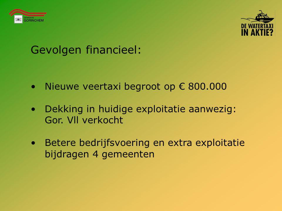 Gevolgen financieel: Nieuwe veertaxi begroot op € 800.000 Dekking in huidige exploitatie aanwezig: Gor. Vll verkocht Betere bedrijfsvoering en extra e