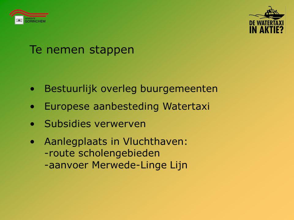 Te nemen stappen Bestuurlijk overleg buurgemeenten Europese aanbesteding Watertaxi Subsidies verwerven Aanlegplaats in Vluchthaven: -route scholengebi