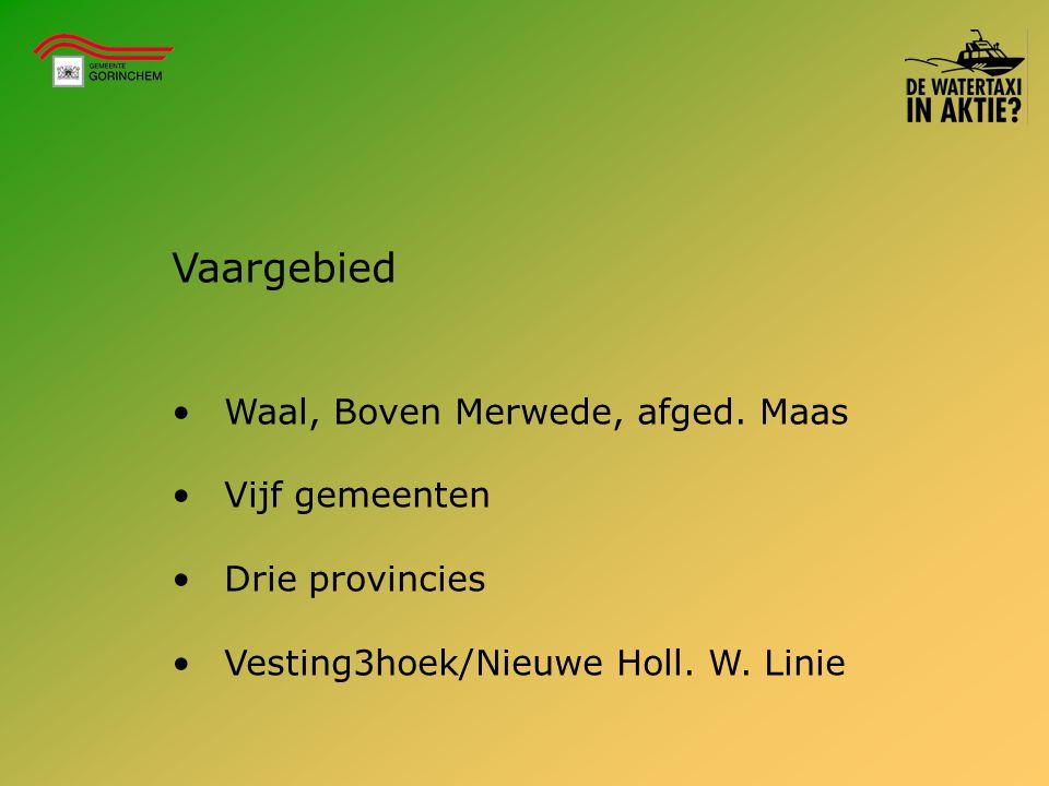 Vaargebied Waal, Boven Merwede, afged. Maas Vijf gemeenten Drie provincies Vesting3hoek/Nieuwe Holl. W. Linie