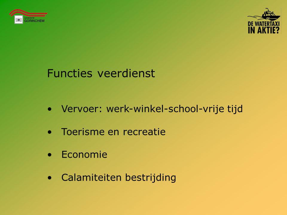 Functies veerdienst Vervoer: werk-winkel-school-vrije tijd Toerisme en recreatie Economie Calamiteiten bestrijding