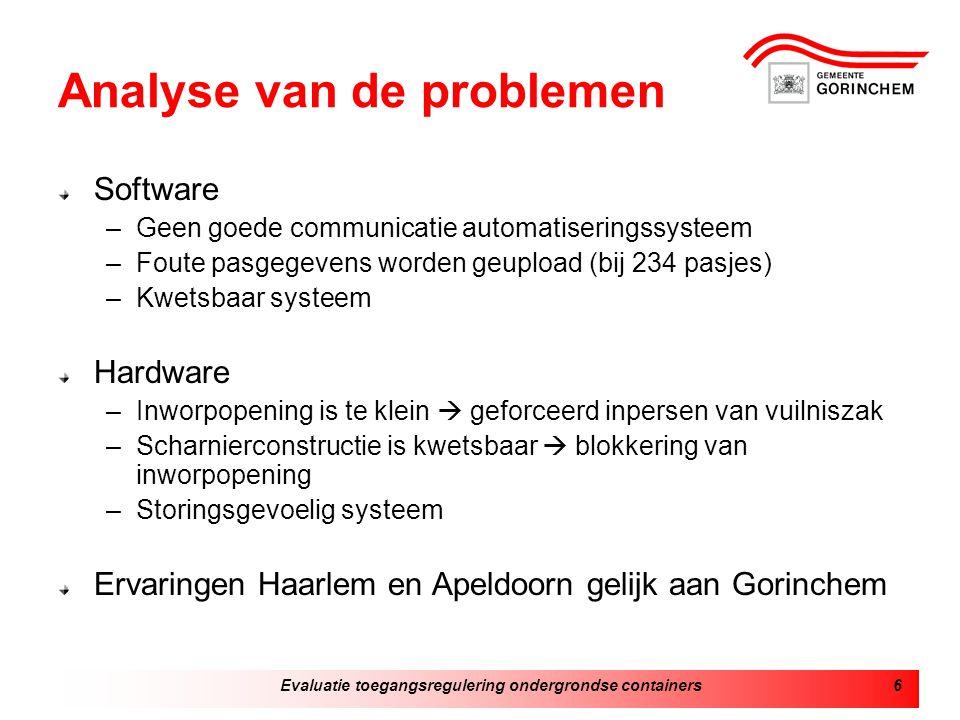 Evaluatie toegangsregulering ondergrondse containers6 Analyse van de problemen Software –Geen goede communicatie automatiseringssysteem –Foute pasgege