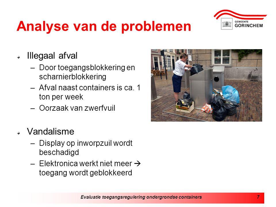 Evaluatie toegangsregulering ondergrondse containers7 Analyse van de problemen Illegaal afval –Door toegangsblokkering en scharnierblokkering –Afval naast containers is ca.