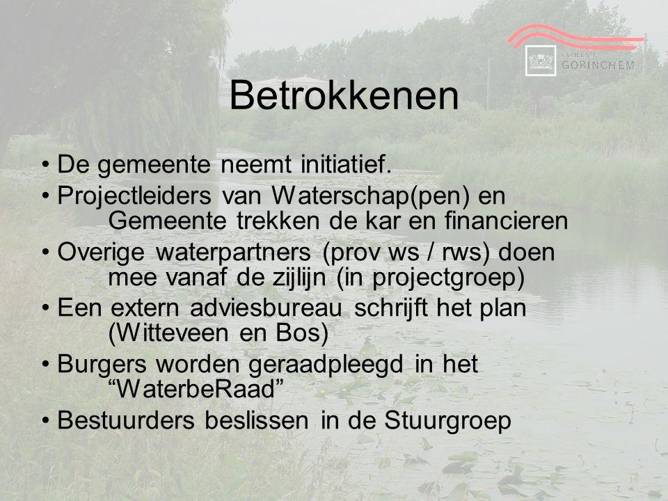 Betrokkenen De gemeente neemt initiatief. Projectleiders van Waterschap(pen) en Gemeente trekken de kar en financieren Overige waterpartners (prov ws