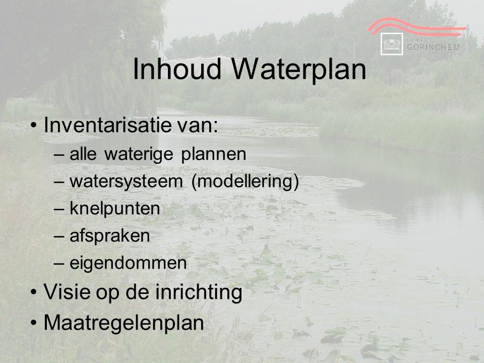 Inhoud Waterplan Inventarisatie van: – alle waterige plannen – watersysteem (modellering) – knelpunten – afspraken – eigendommen Visie op de inrichtin