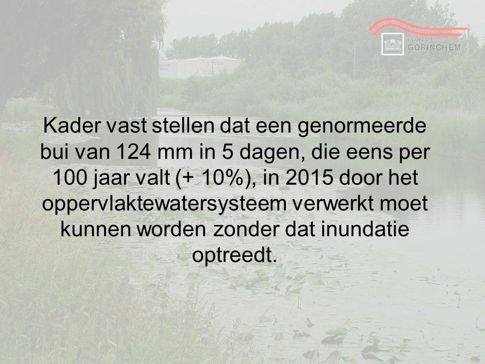 Kader vast stellen dat een genormeerde bui van 124 mm in 5 dagen, die eens per 100 jaar valt (+ 10%), in 2015 door het oppervlaktewatersysteem verwerk