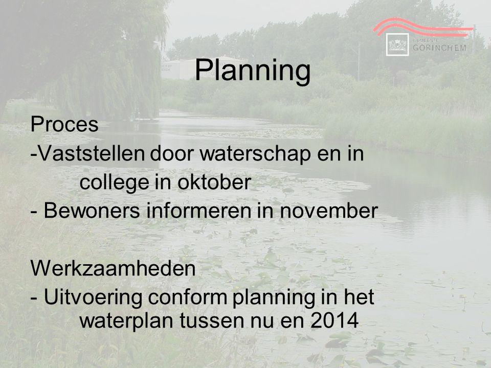 Planning Proces -Vaststellen door waterschap en in college in oktober - Bewoners informeren in november Werkzaamheden - Uitvoering conform planning in
