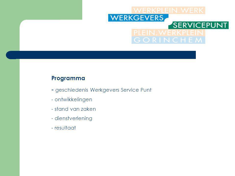 Programma - geschiedenis Werkgevers Service Punt - ontwikkelingen - stand van zaken - dienstverlening - resultaat