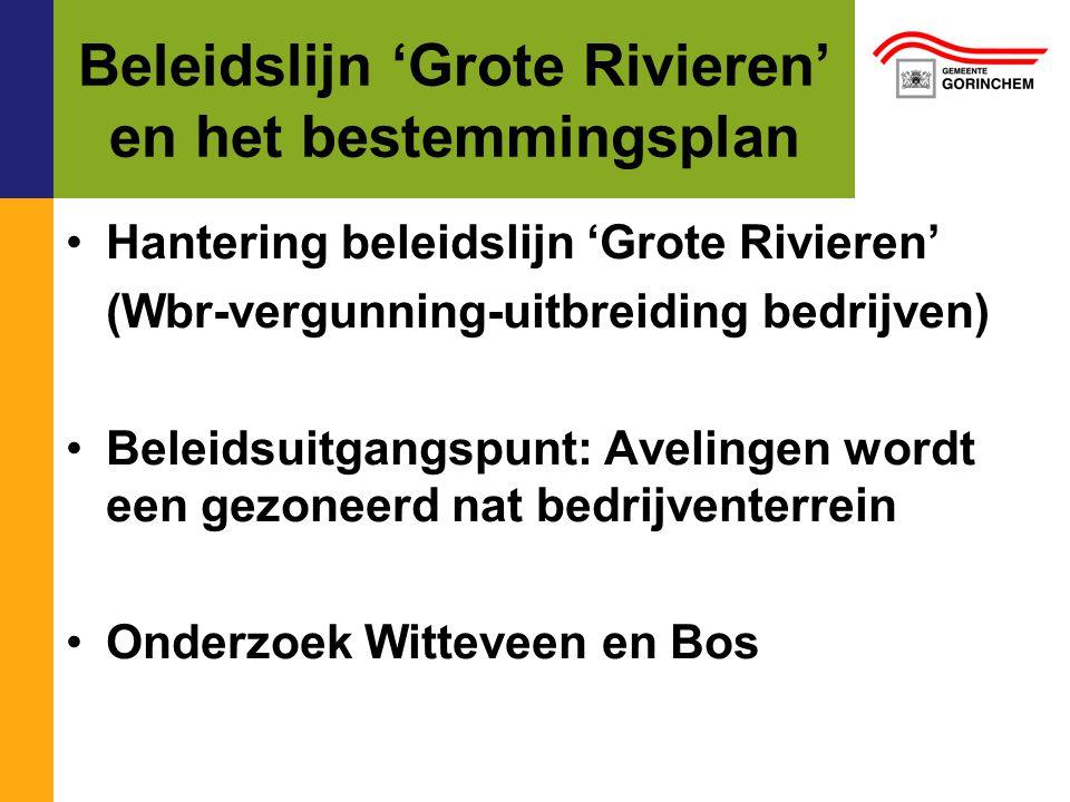 Beleidslijn 'Grote Rivieren' en bestemmingsplan (2) Bestemming 'watergebonden bedrijven' voor de kavels aan de Merwede Overige kavels: reguliere bestemming 'bedrijven'