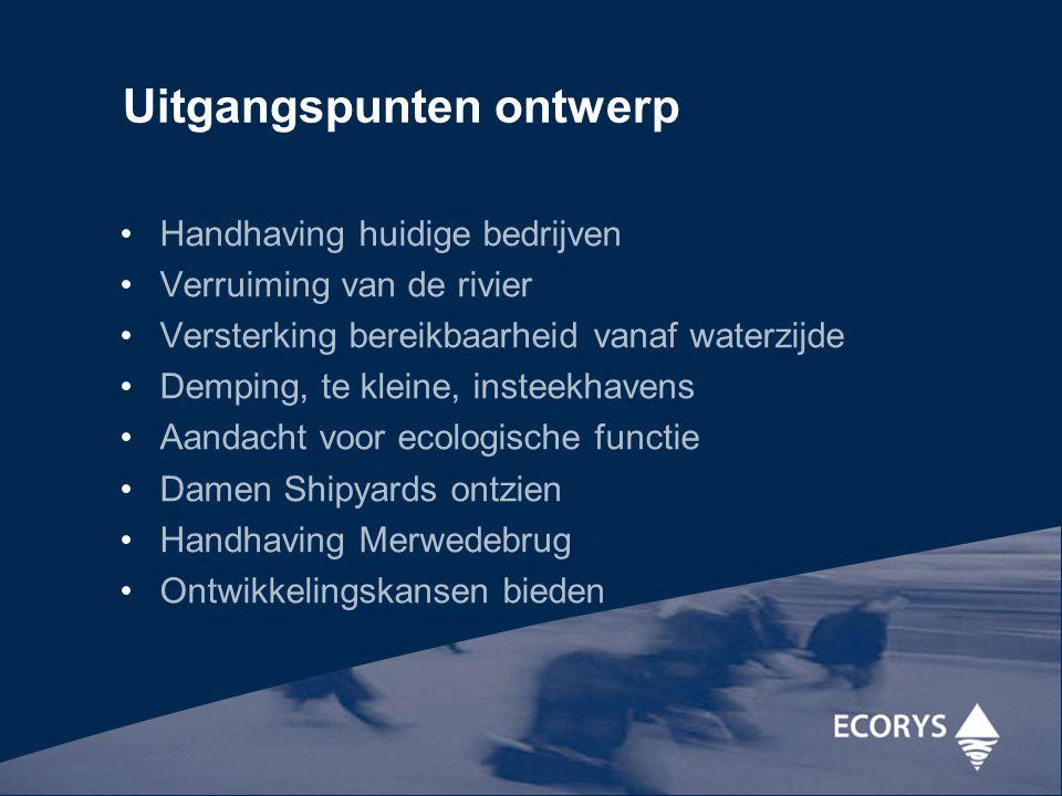 Uitgangspunten ontwerp Handhaving huidige bedrijven Verruiming van de rivier Versterking bereikbaarheid vanaf waterzijde Demping, te kleine, insteekha