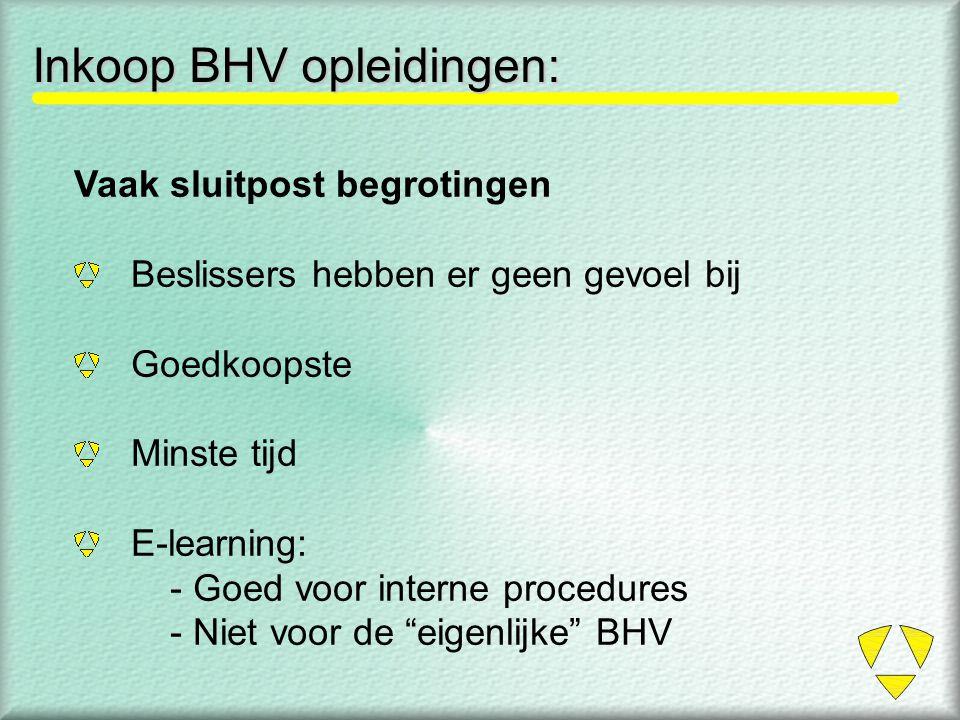 Inkoop BHV opleidingen: Vaak sluitpost begrotingen Beslissers hebben er geen gevoel bij Goedkoopste Minste tijd E-learning: - Goed voor interne proced
