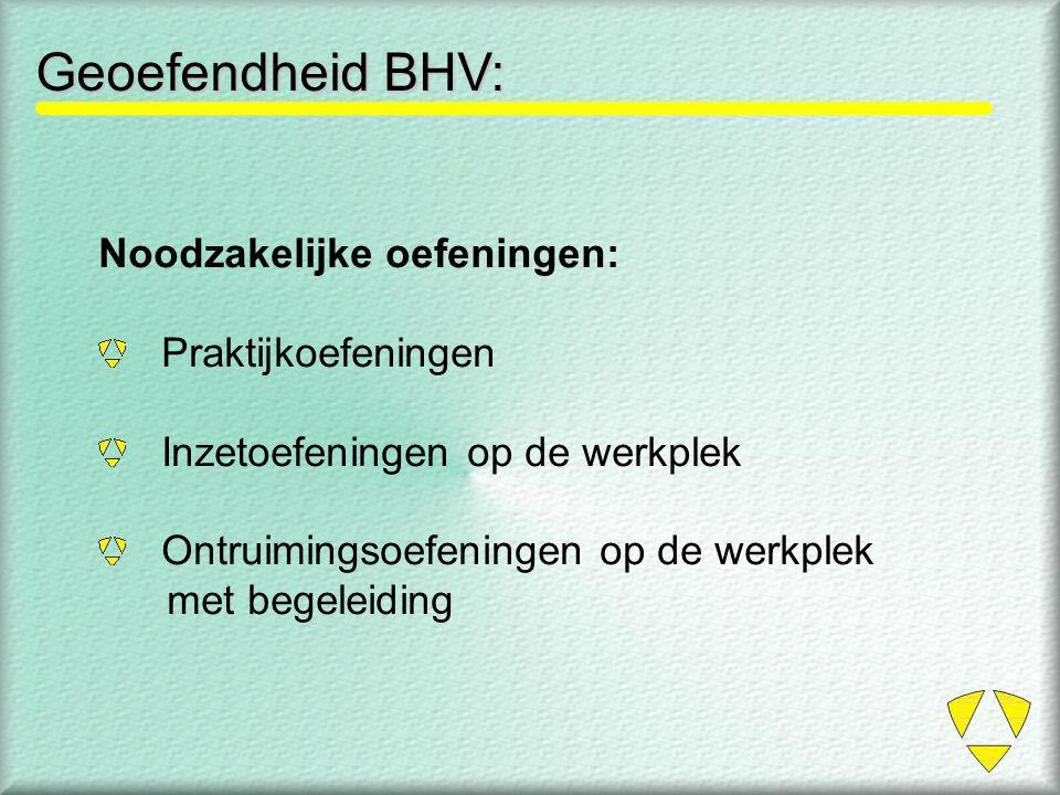 Geoefendheid BHV: Noodzakelijke oefeningen: Praktijkoefeningen Inzetoefeningen op de werkplek Ontruimingsoefeningen op de werkplek met begeleiding