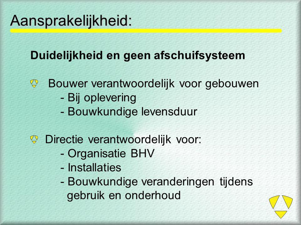 Aansprakelijkheid: Duidelijkheid en geen afschuifsysteem Bouwer verantwoordelijk voor gebouwen - Bij oplevering - Bouwkundige levensduur Directie vera