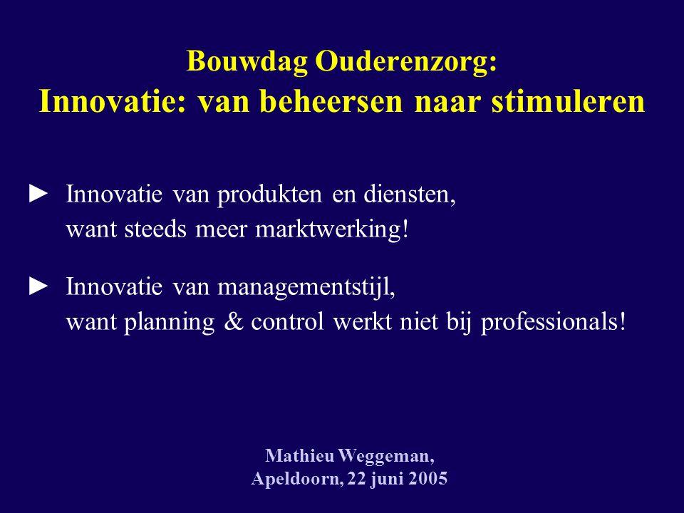 Bouwdag Ouderenzorg: Innovatie: van beheersen naar stimuleren ► Innovatie van produkten en diensten, want steeds meer marktwerking.