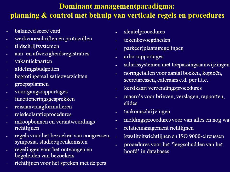 Dominant managementparadigma: planning & control met behulp van verticale regels en procedures -balanced score card - werkvoorschriften en protocollen - tijdschrijfsystemen - aan- en afwezigheidsregistraties - vakantiekaarten - afdelingsbudgetten - begrotingsrealisatieoverzichten - groepsplannen - voortgangsrapportages - functioneringsgesprekken - reisaanvraagformulieren - reisdeclaratieprocedures - inkoopbonnen en verantwoordings- richtlijnen - regels voor het bezoeken van congressen, symposia, studiebijeenkomsten - regelingen voor het ontvangen en begeleiden van bezoekers - richtlijnen voor het spreken met de pers - sleutelprocedures - tekenbevoegdheden - parkeer(plaats)regelingen - arbo-rapportages - salarissystemen met toepassingsaanwijzingen - normgetallen voor aantal boeken, kopieën, secretaressen, cateraars e.d.