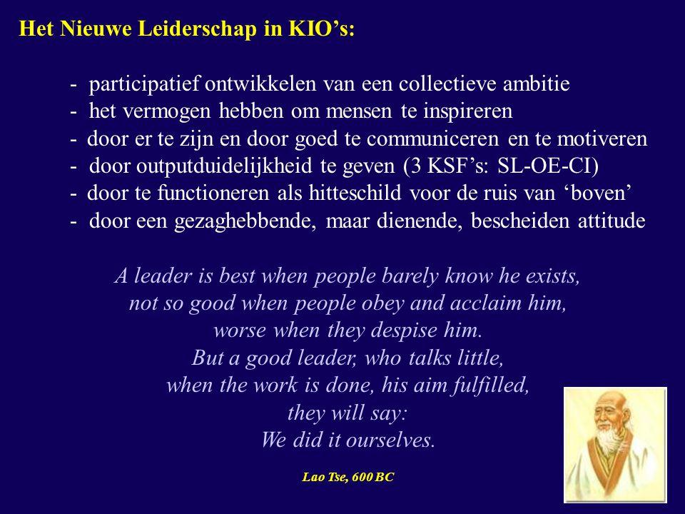 Het Nieuwe Leiderschap in KIO's: - participatief ontwikkelen van een collectieve ambitie - het vermogen hebben om mensen te inspireren - door er te zijn en door goed te communiceren en te motiveren - door outputduidelijkheid te geven (3 KSF's: SL-OE-CI) - door te functioneren als hitteschild voor de ruis van 'boven' - door een gezaghebbende, maar dienende, bescheiden attitude A leader is best when people barely know he exists, not so good when people obey and acclaim him, worse when they despise him.