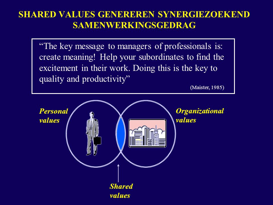 "SHARED VALUES GENEREREN SYNERGIEZOEKEND SAMENWERKINGSGEDRAG ""The key message to managers of professionals is: create meaning! Help your subordinates t"
