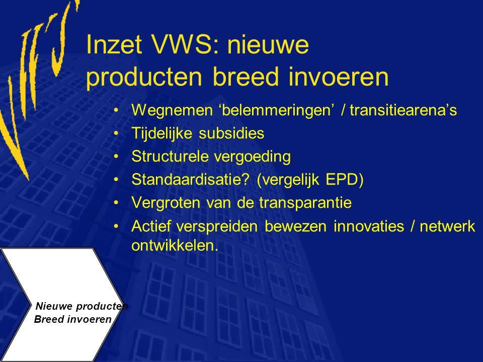 Inzet VWS: nieuwe producten breed invoeren Wegnemen 'belemmeringen' / transitiearena's Tijdelijke subsidies Structurele vergoeding Standaardisatie? (v