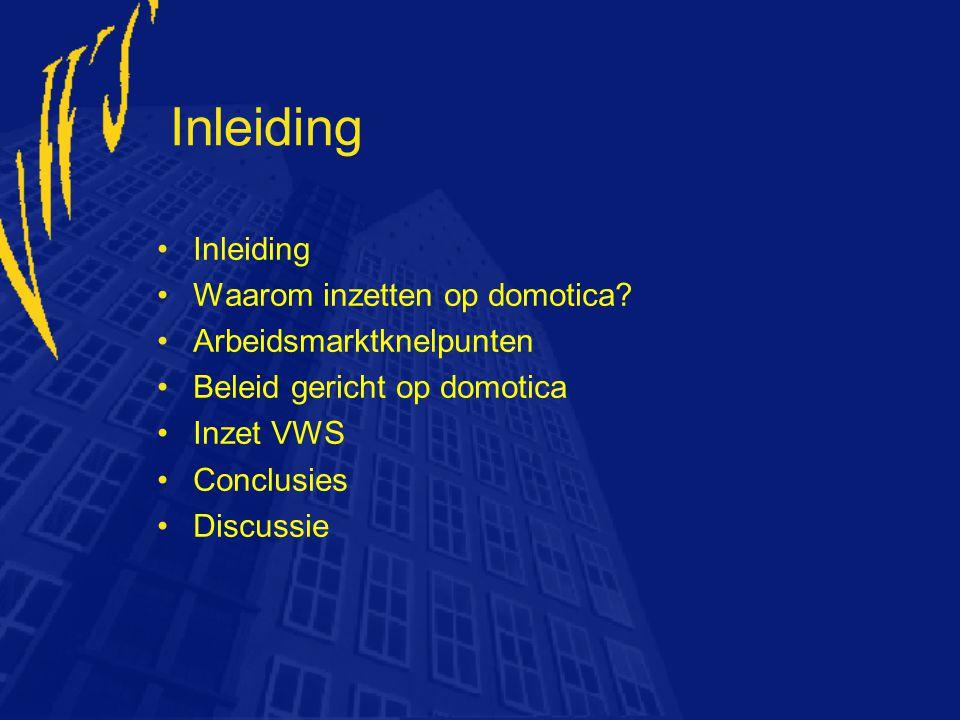 Inleiding Waarom inzetten op domotica? Arbeidsmarktknelpunten Beleid gericht op domotica Inzet VWS Conclusies Discussie