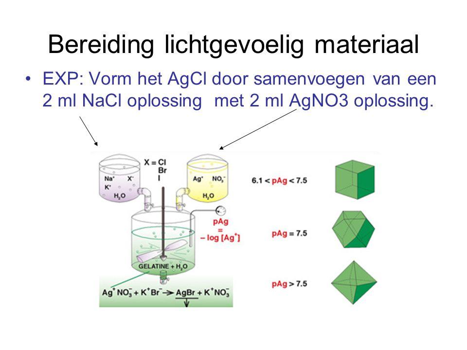 Bereiding lichtgevoelig materiaal EXP: Vorm het AgCl door samenvoegen van een 2 ml NaCl oplossing met 2 ml AgNO3 oplossing.