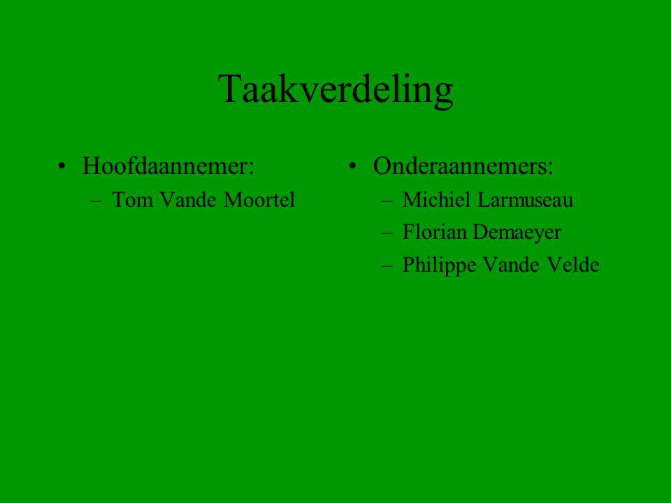 Taakverdeling Hoofdaannemer: –Tom Vande Moortel Onderaannemers: –Michiel Larmuseau –Florian Demaeyer –Philippe Vande Velde