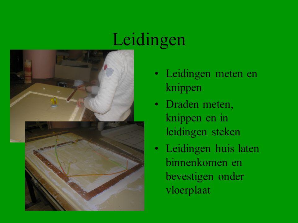 Leidingen Leidingen meten en knippen Draden meten, knippen en in leidingen steken Leidingen huis laten binnenkomen en bevestigen onder vloerplaat