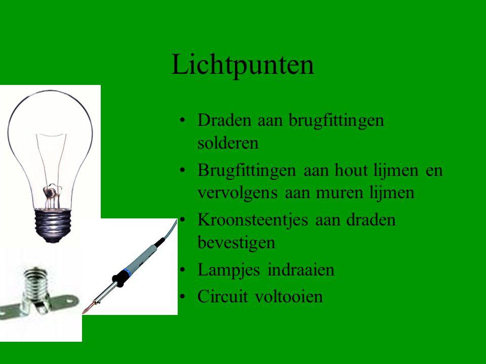 Lichtpunten Draden aan brugfittingen solderen Brugfittingen aan hout lijmen en vervolgens aan muren lijmen Kroonsteentjes aan draden bevestigen Lampje