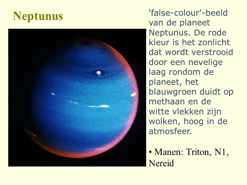 Neptunus 'false-colour'-beeld van de planeet Neptunus. De rode kleur is het zonlicht dat wordt verstrooid door een nevelige laag rondom de planeet, he