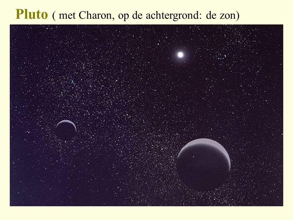 Pluto ( met Charon, op de achtergrond: de zon)