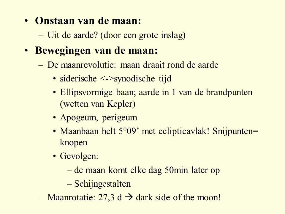 Onstaan van de maan: –Uit de aarde? (door een grote inslag) Bewegingen van de maan: –De maanrevolutie: maan draait rond de aarde siderische synodische