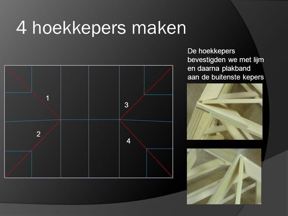 4 hoekkepers maken 1 2 3 4 De hoekkepers bevestigden we met lijm en daarna plakband aan de buitenste kepers