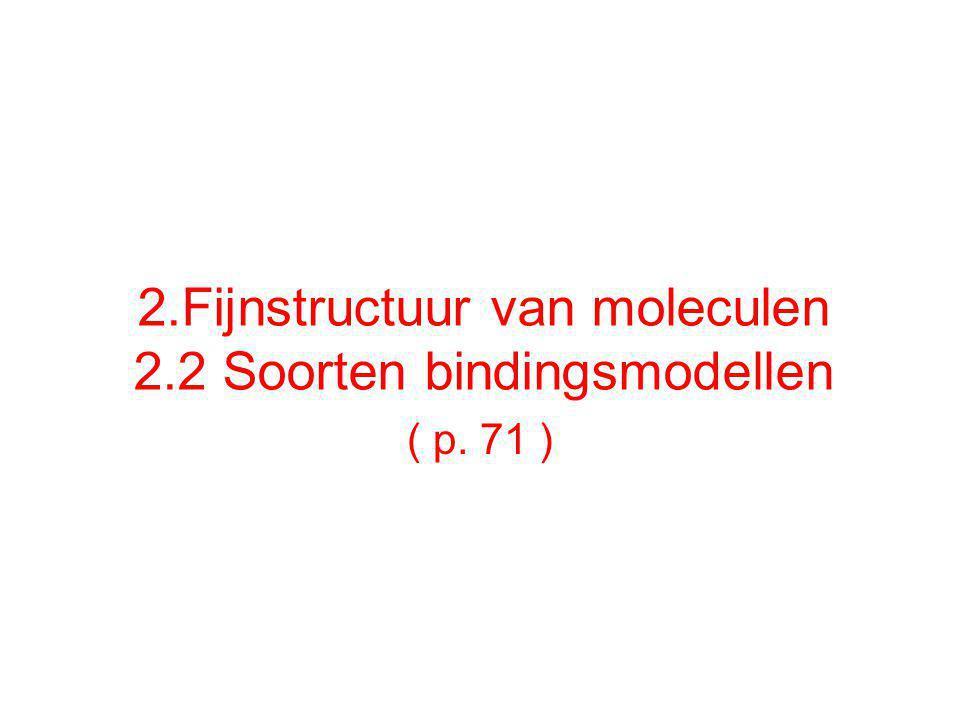 2.Fijnstructuur van moleculen 2.2 Soorten bindingsmodellen ( p. 71 )