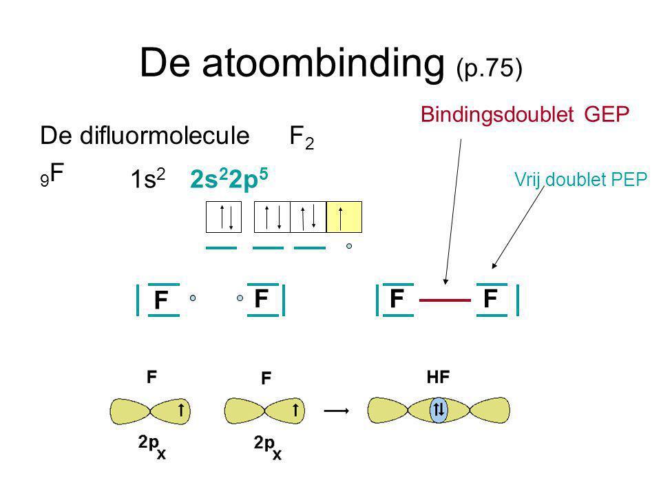 De atoombinding (p.75) De difluormolecule F 2 9 F 1s 2 2s 2 2p 5 F FFFF Vrij doublet PEP Bindingsdoublet GEP