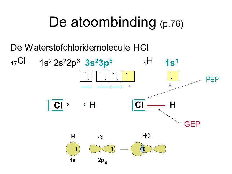 De atoombinding (p.76) De Waterstofchloridemolecule HCl 17 Cl 1 H 1s 2 2s 2 2p 6 3s 2 3p 5 1s 1 Cl HH PEP GEP Cl HCl Cl HCl