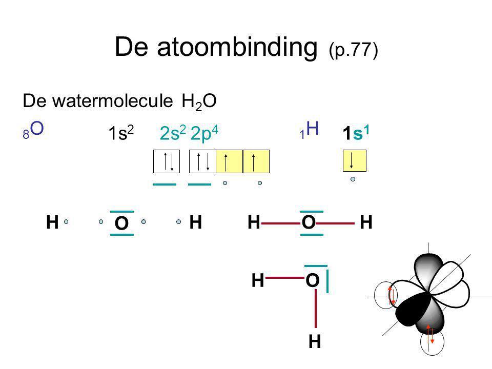 De atoombinding (p.77) De watermolecule H 2 O 8 O 1 H 1s 2 2s 2 2p 4 1s 1 O HHOHH HO H